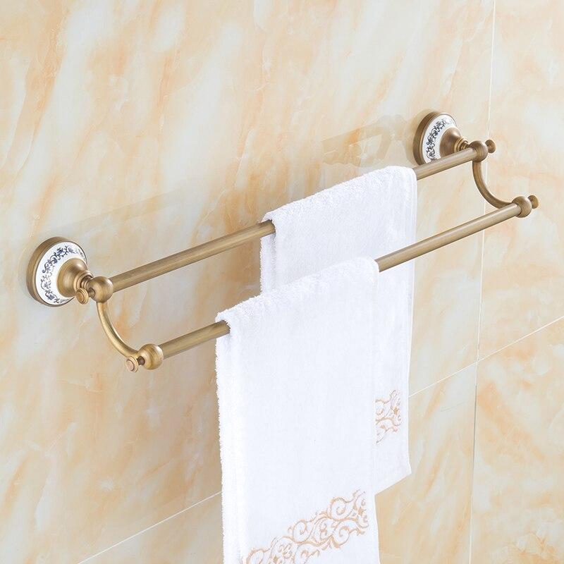 Ceramics base copper bathroom double towel bars, Wall toilet hanging towel rack shelf vintage, European antique brass towel bars square corners hanging antique copper 2 candelabra sockets clear glass