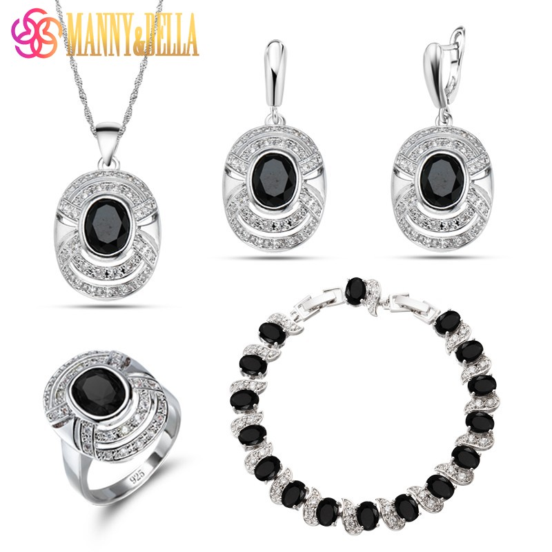 West Style 925 Mark Silver Four Piece Cool Women Jewelry Sets Black Cubic Zirconia Ring Size 6/7/8/9/10 Bracelet Length 21.5CM