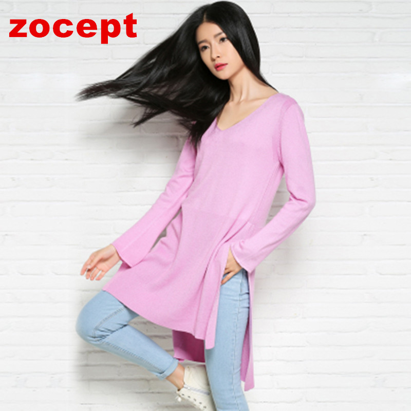 zocept Womens Cashmere Blend Sweater Winter Autumn Knitted Flare Sleeve Split Asymmetrical Hem Design V-Neck Long Pullovers
