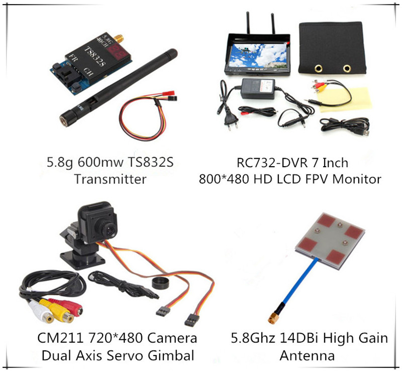 Boscam TS832S 5.8G 40CH 600mw Transmitter Dual Axis Servo Gimbal Camera RC732-DVR All-in-one 7 800*480 HD LCD Monitor rc732 dvr 7 inch 800 480 hd lcd fpv monitor built in battery fpv boscam hd08a 1080p full hd waterproof sports camera