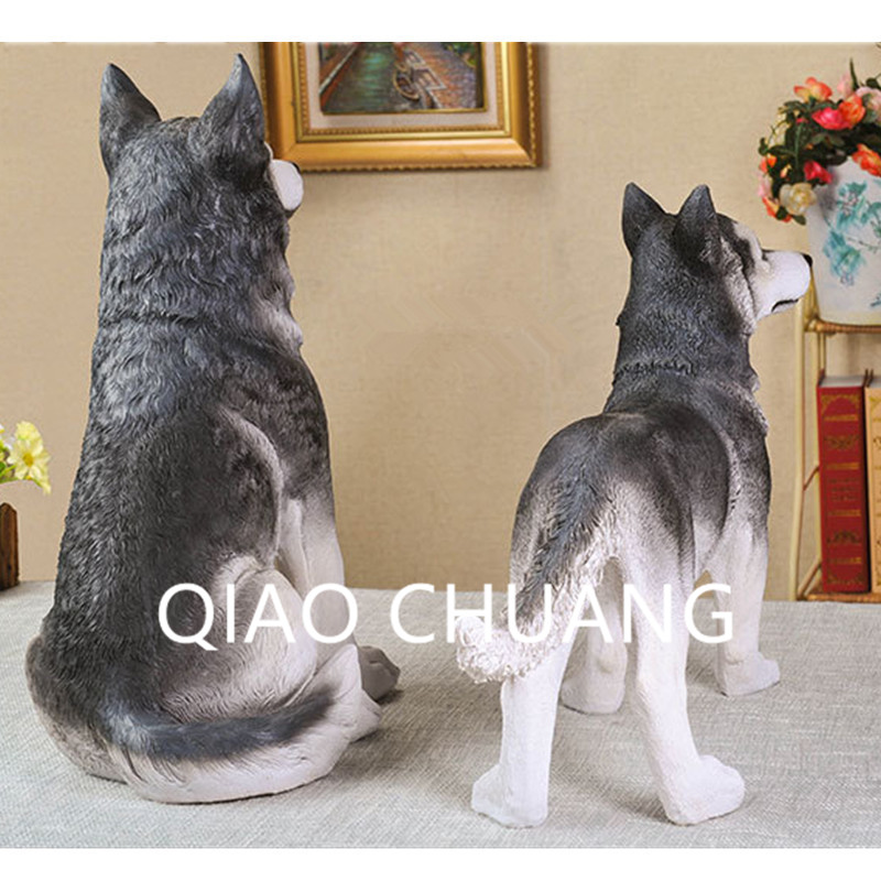 Creative World Famous Dog Home Furnishing Articles Colophony Crafts Simulation Sled Dog Siberian Husky Animal Model Toy G919