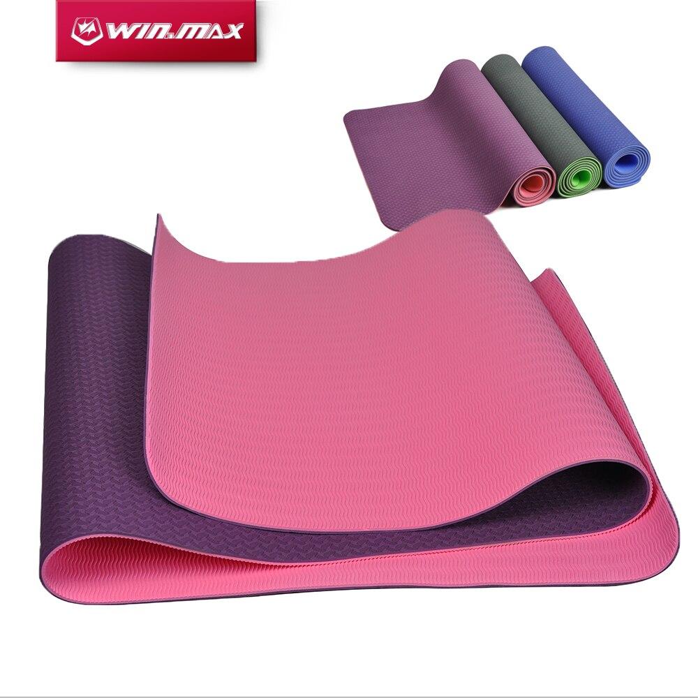 Winmax haute qualité pliant Surface antidérapante poids léger confortable 6mm caoutchouc naturel TPE tapis de Yoga pour débutant avec sac