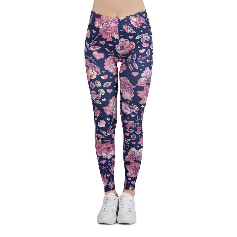 Kobiety Legging kwiatowy miłość drukarnie legginsy Slim wysoka elastyczność Legging popularne fitness legginsy spodnie damskie