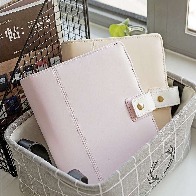 2018 Yiwi Macaron A5 Beige Pink Binder Planner Creative Cute Dairy Notebook With Zip Bag inside 2018 yiwi a7 creative composition book planner weekly dairy hobo clothes cover blue b notebook