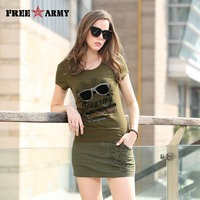 2016 Summer Style Glasses Women S Brand T Shirt Printing Letters Cotton Casual Army Green Military