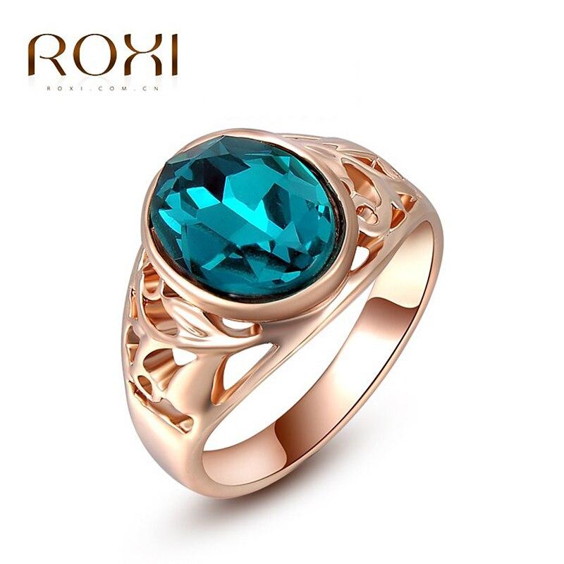 ROXI Для женщин Кольца Классические Оригинальные австрийские кристаллы розовое золото Цвет синий камень кольцо для Для женщин Модные украше…