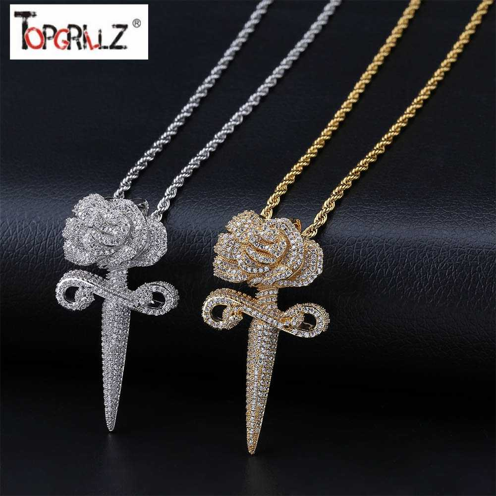 New Fashion Iced Out Flower Pendant Necklace With Tennis Chain Bling Hip Hop Gold Silver Color Mens/Women Charm Chain Jewelry