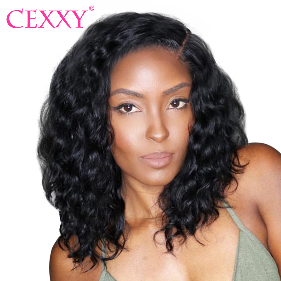 Cexxy Short Lace Front Human Hair Wigs Brazilian Natural Wave Remy Hair Bob Wig For Black Women Pre Plucked with Baby Hair (China)
