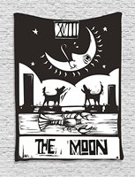 Moon Tapestry Black And White Drawing Style Lobster Wolves Crescent Moon Stars Tarot Card Design Wall