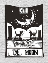 Moon Tapestry Black and White Drawing Style Lobster Wolves Crescent Stars Tarot Card Design, Wall Hanging for Bedroom
