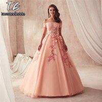 Бальные платья для выпускного вечера с открытыми плечами и короткими рукавами персикового цвета с потрясающими 3D кружевными цветами вечер