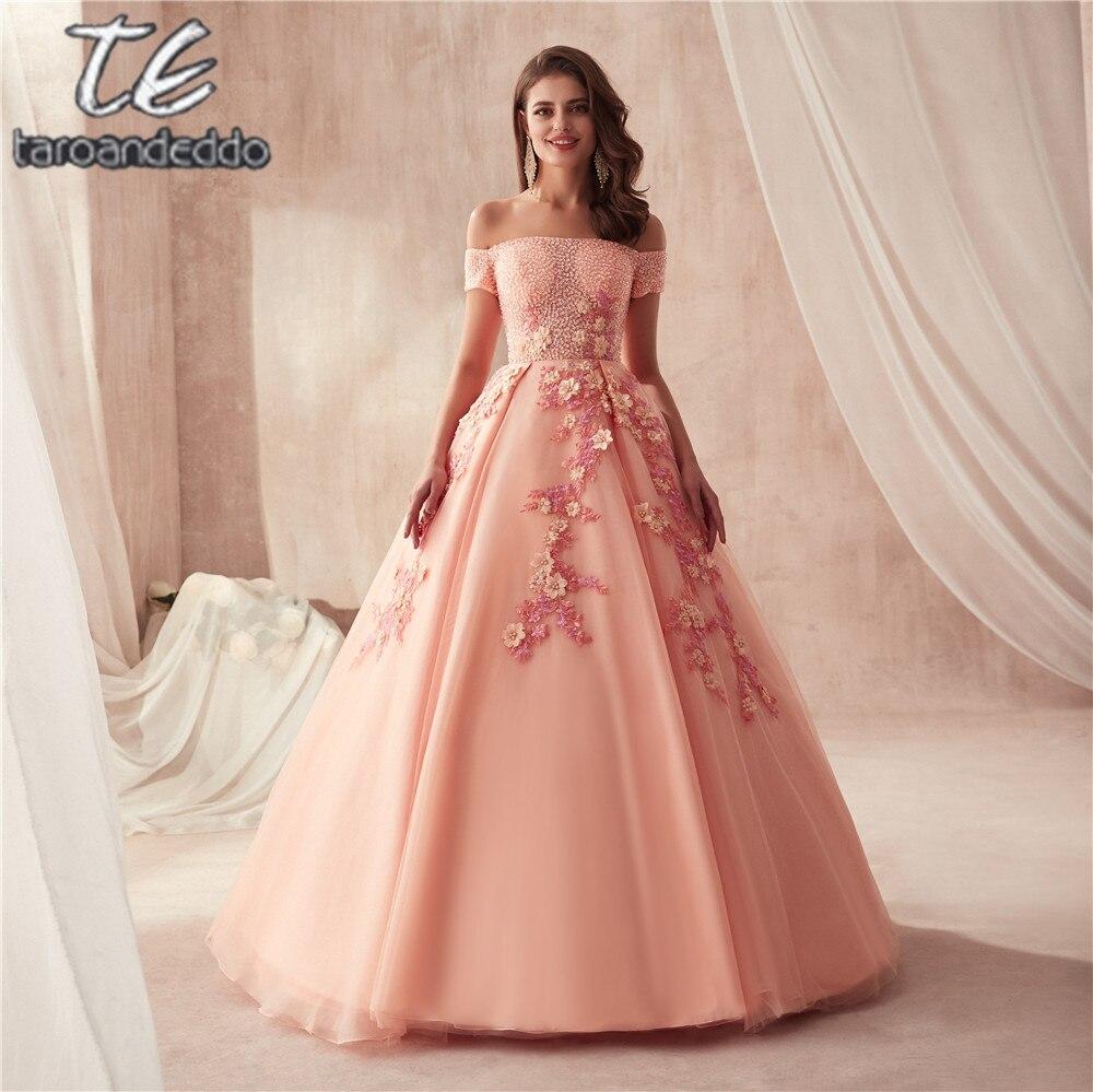 Hors de l'épaule manches courtes robes de bal robe de bal pêche perles avec de superbes 3D dentelle fleurs robes de soirée