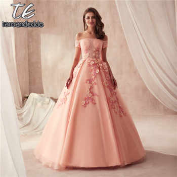 Off the Shoulder Short Sleeves Ball Gowns Prom Dress Peach Beading with Stunning 3D Lace Flowers Evening Gowns - DISCOUNT ITEM  12% OFF All Category
