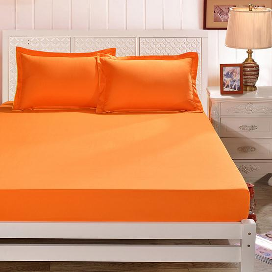 Solid Color Twin Full Queen Size Cotton Single Double Bed Fitted Sheet  Elastic Mattress Cover Orange Pink Bedspread Home Textile In Sheet From  Home U0026 Garden ...
