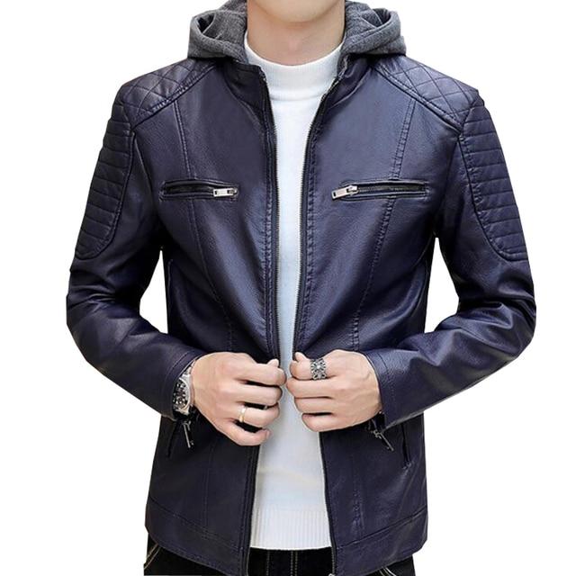 ac99572d037 US $52.2 28% OFF|SAEEDNTON 2018 Leather Hooded Jacket Men Motorcycle Jacket  Polar Fleece HOOD Detachable PU Faux Leather Jacket Men Biker Jacket-in ...