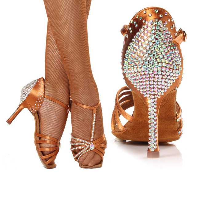 d0014c3c1 High-grade imported satin Diamond Mid heel Dancing shoes Latin dance shoes  women Adult Performance