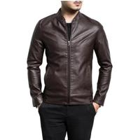 Mens Leather Stand Collar Motorcycle Jacket Slim Fit Casual Outwear Coat NEW V14