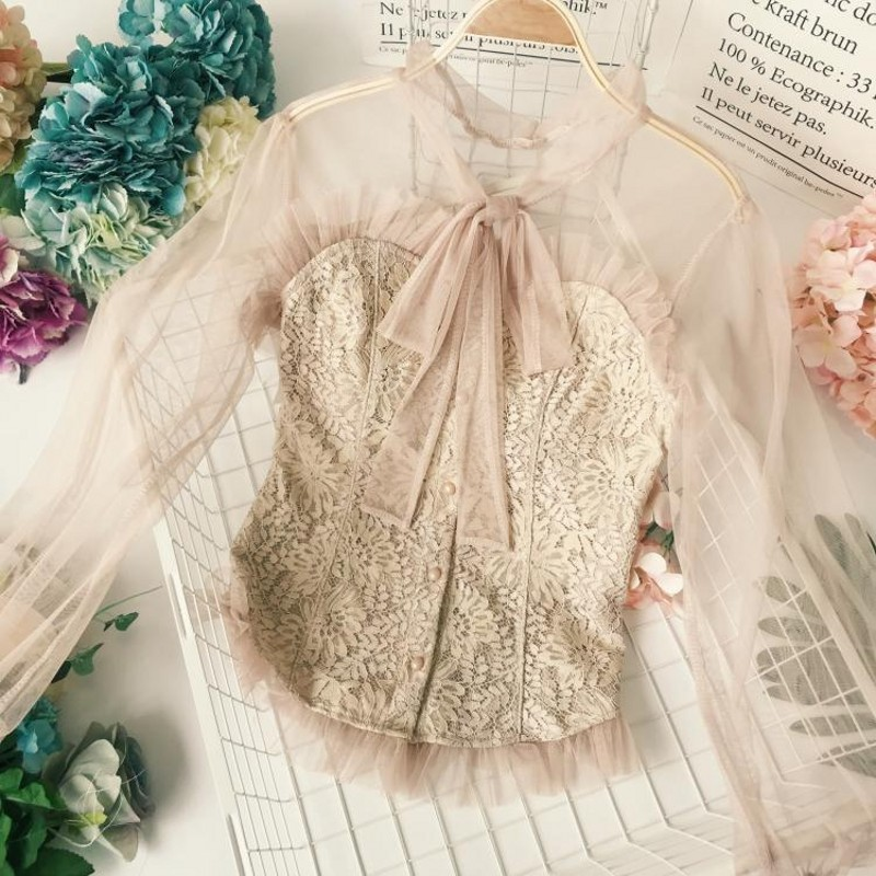 Autumn 2018 Ladies Cute Lace   Blouse     Shirt   High Neck Full Flare Sleeve Croche Light Pink   Blouse   Ruffle Top LACE