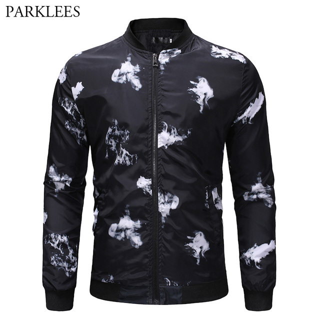 ad4389e7 White Smog Print Jacket Men 2018 Spring Autumn New Zipper Baseball Jacket  Mens Casual Slim Fit