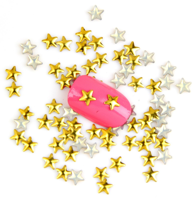 1000Pcs/Lot Manicure Flat Back Gold Punk Rivet Studs Metal Mini Star Design Nail Art Sticker Decal For Women Tip Decor WY336 12 boxes gold rivet nail studs round star heart triangle oval rhinestone manicure nail art decoration