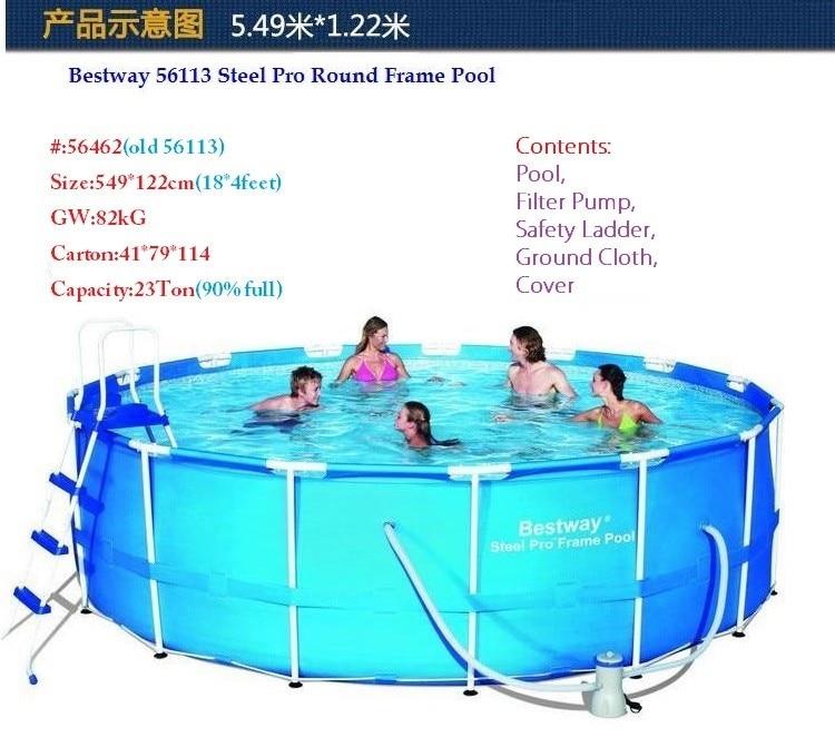 56462 Bestway 549*122 cm Runde Rahmen Pool Set (Filter, Leiter ...