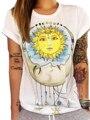 Sun Moon Colorida Impresión de la Historieta del Verano Camiseta de La Manera Ocasional chica Camiseta de La Camiseta Corta Top 2016 Nueva Llegada Camiseta de Alta calidad