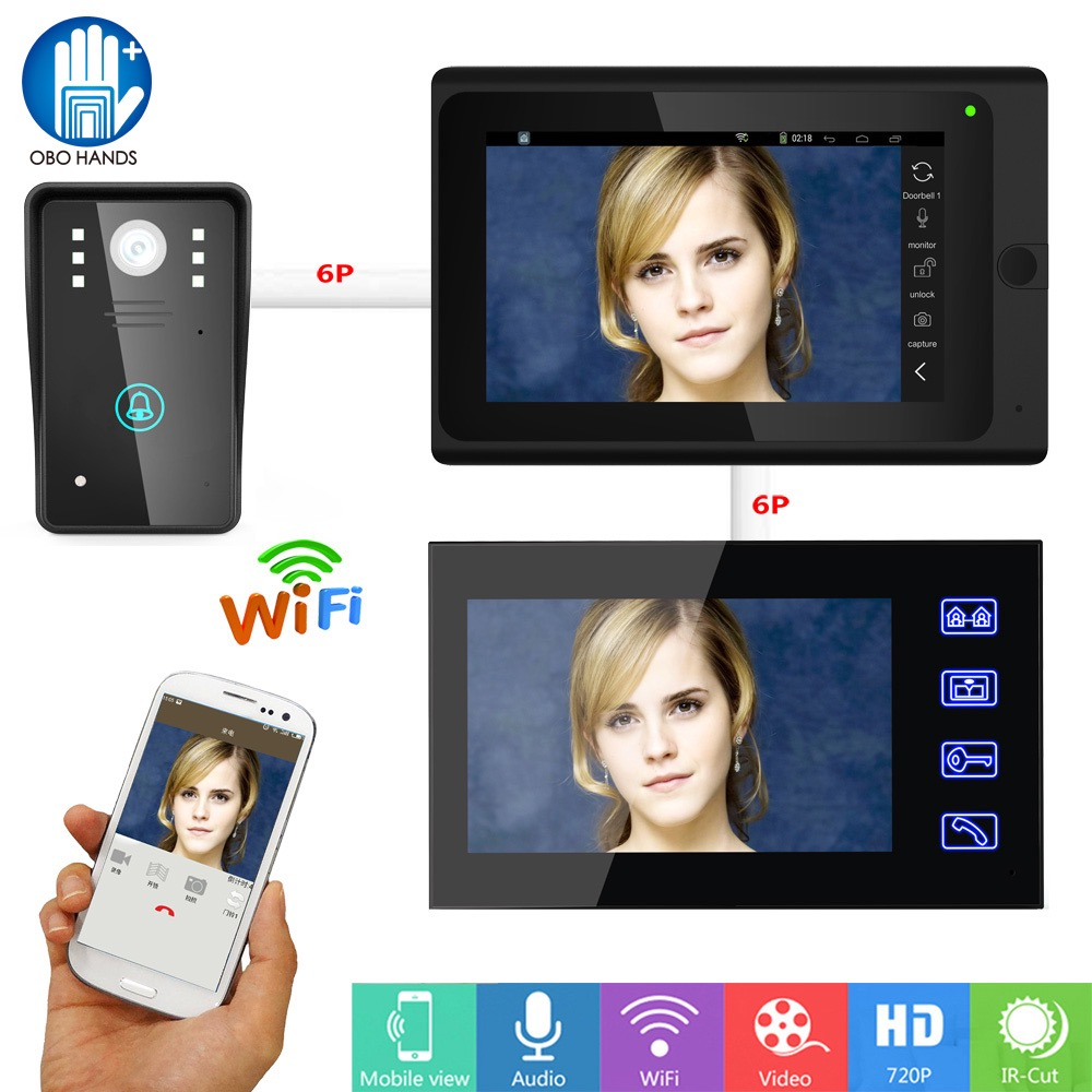 7 wired Wifi Video Doorbell Intercom Kit Set IR HD 720P Camera 2 Touch Screen Two way intercom Support Smart Phone with APP