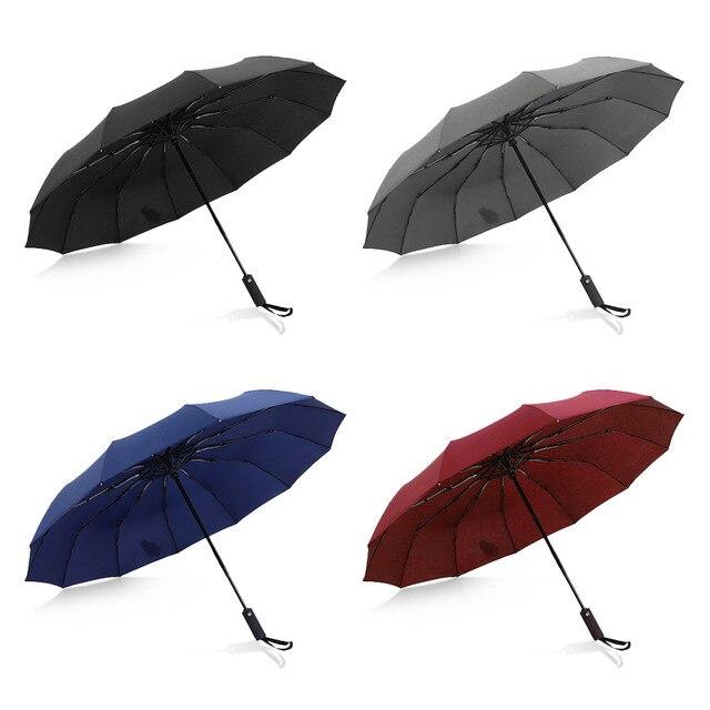 Hot Koop Merk Regen Paraplu Mannen Kwaliteit 12 RIBBEN Sterke Winddicht Glasvezel Frame Houten Lange Steel Paraplu vrouwen Parapluie