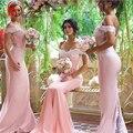 Manga Touca de renda de Dama de Honra Baratos Vestidos Longos Sereia Tribunal Trem Vestido de Noiva Da Dama de Honra Vestidos de Convidados Do Casamento Vestido Custom Made