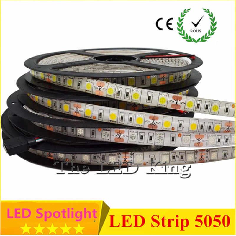 DC12V taśmy LED 5050 elastyczne światło LED RGB RGBW biały ciepły biały wodoodporna taśma LED 60 diod LED/m 5 m/partia.