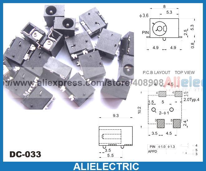 500PCS 4-Pin SMD 3.5mm X 1.3MM DC socket jack PCB Charger Power Plug Soldering
