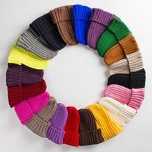 Hat Female Unisex Cotton Blends Solid Warm Soft HIP HOP Knitted Hats Men Winter Caps Women's