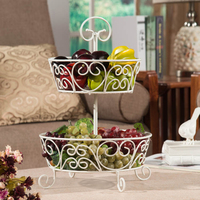 2 Tier Fruit Basket French Country Wire Basket Fruit Basket Stand for Storing & Organizing Vegetables, Eggs, and More