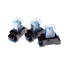 MY4NJ Elektronik Micro Relay 4NO 4NC Indikator LED Power Relay DIN Rail 14 Pin Mini Relay dengan Socket DC12V 24 V AC220V 1 Set(China)