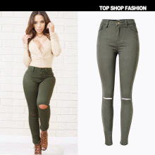2017 New ArmyGreen High Elasticity Hole Skinny Jeans Women American Apparel Fashion High Waist Ripped Jeans Femme Push Up Pant