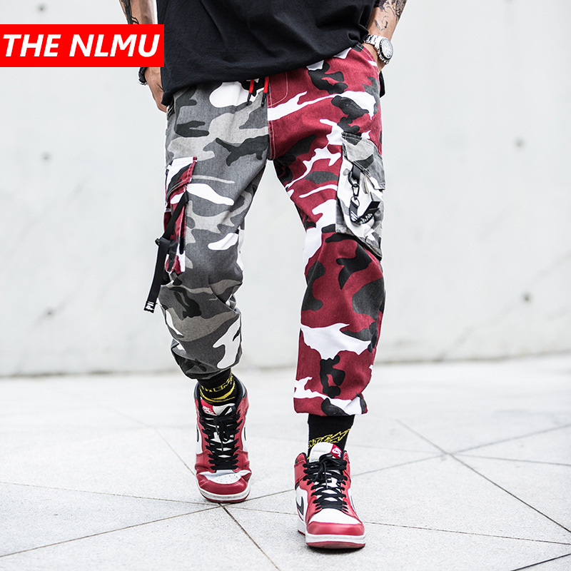 Color Block Camo Cargo Joggers Pants Mens Hip Hop Casual Camouflage Streetwear 2019 Spring Ankle-Length Cotton Pant GW024