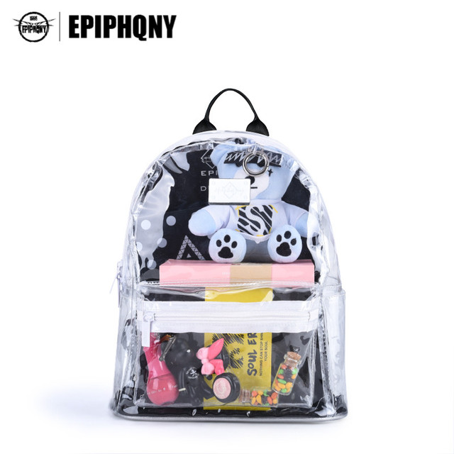 Epiphqny Brand Women Clear Backpack Transparent Korean Fashion ...