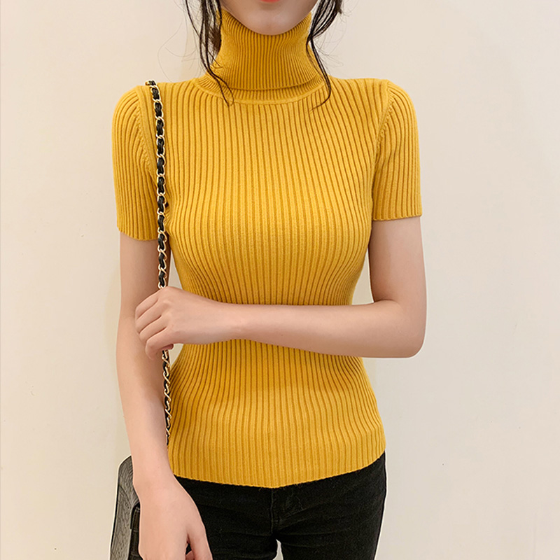 2019 Fashion Sexy Womens Short-Sleeved Sweaters Women Slim Knitted Tops Turtleneck Solid Color Pullovers Classic Tees 6 Colors