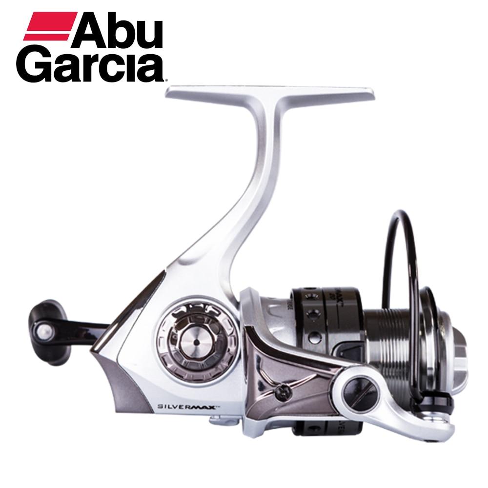 Abu Garcia Silver Max Spinning Fishing Reel 5+1BB Aluminum Spool 5.2:1 Gear Ratio 100% abu garcia 6 1 ball bearings pro max spinning 500 1000 2000 3000 4000 series fishing reel machined aluminum spool