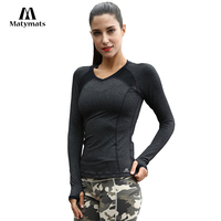 Matymats Women Yoga T Shirt Long Sleeve Yoga Tops Fitness Running Tops Quick Dry Gym Workout