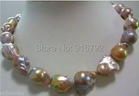 free P&P >>>>>huge Color AAA 15 25mm south sea baroque pearl necklace 18 INCH