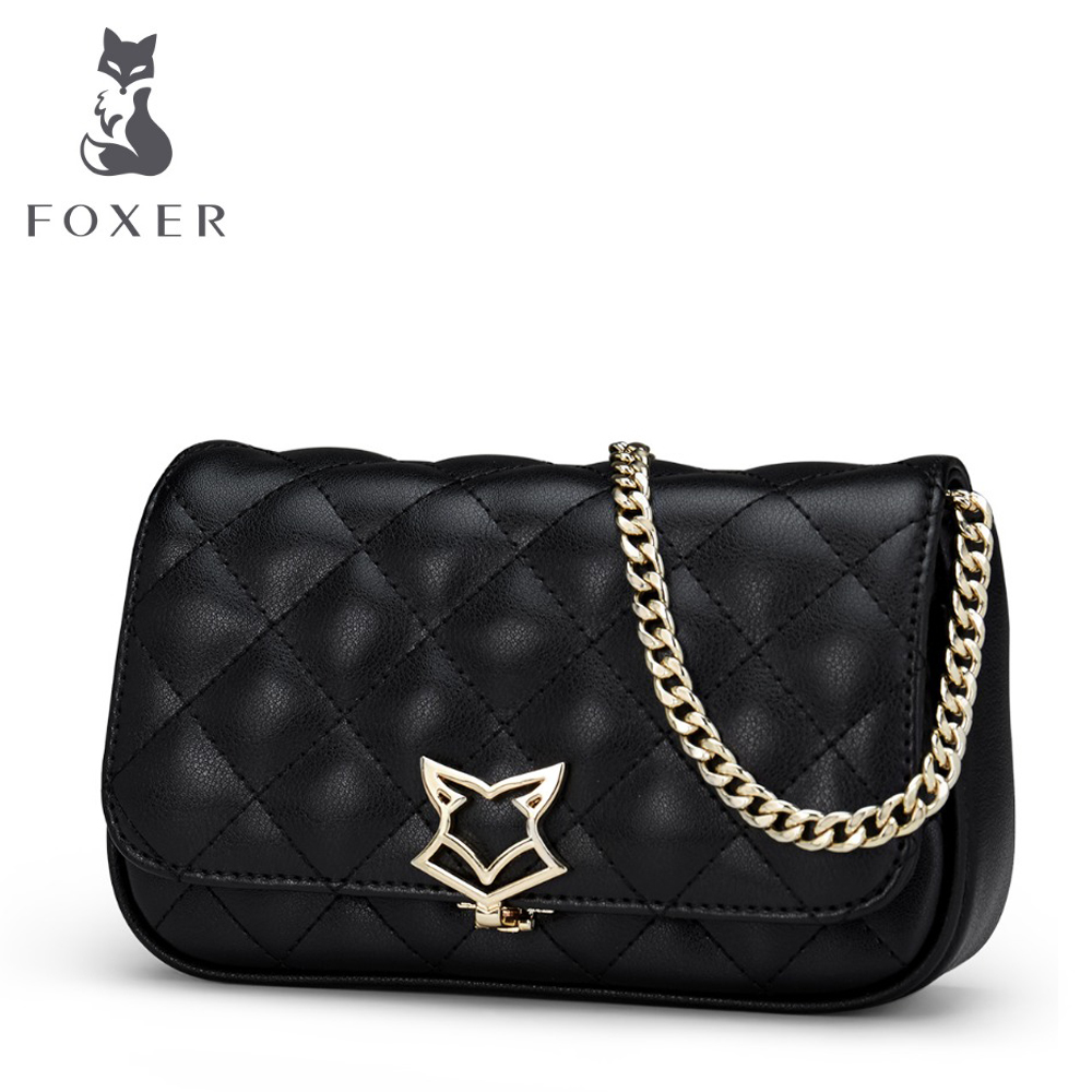 FOXER ยี่ห้อ 2018 กระเป๋าหนังของผู้หญิงแฟชั่นกระเป๋า Crossbody สำหรับผู้หญิงถุงห่วงโซ่สาวกระเป๋าสะพายของขวัญสำหรับวันวาเลนไทน์