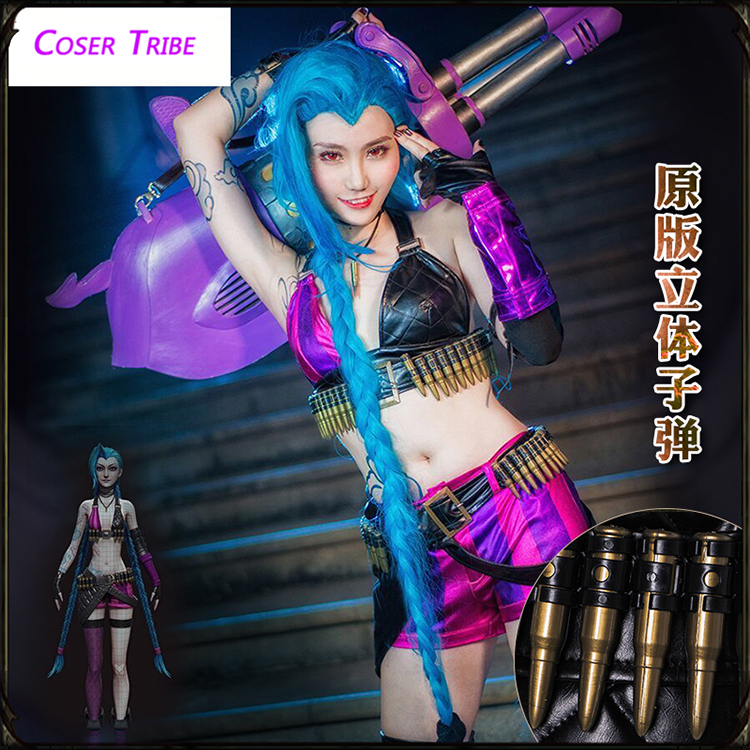 [STOCK] 2018 jeu LOL femme héros le canon lâche JINX peau originale Cosplay Costume pour Halloween carnaval livraison gratuite nouveau.