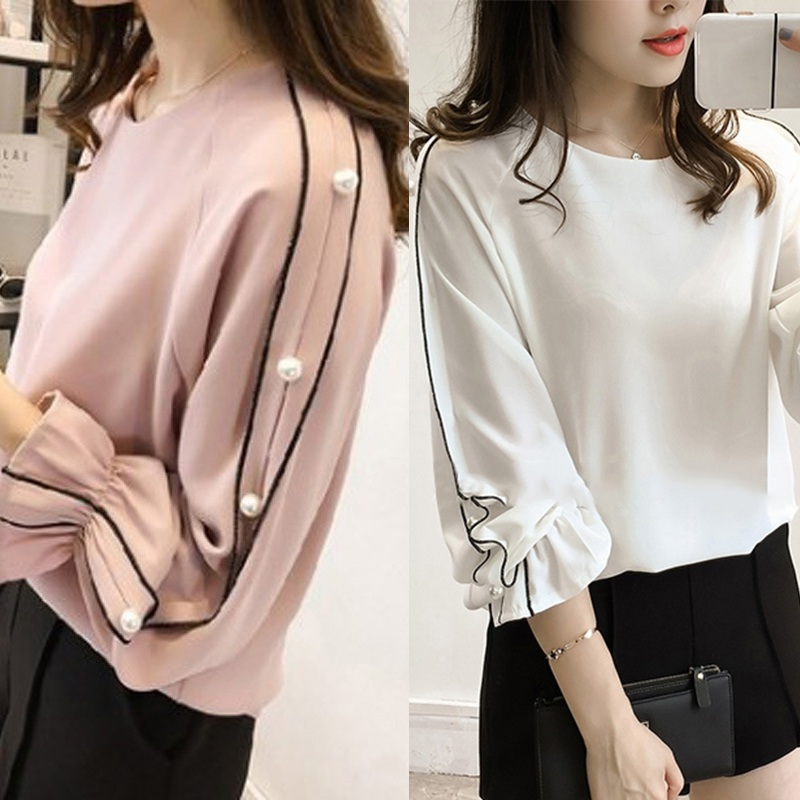 Fashion Autumn Plus Size Flare Full Sleeve Rivet Top Tees   Shirts   White Pink Women Casual   Blouse   18   Shirt   Clothes ladies XL