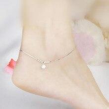 925 Серебряный Браслет женский Корейский минималистский колокольчик транспорт шарик Корея ноги цепь все матч минималистский моды серебряные ювелирные изделия прилива