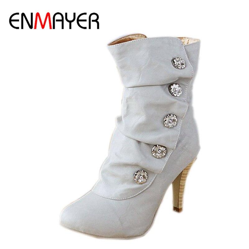 100% QualitäT Enmayer Frauen Schuhe Auf Verkauf Winther Stiefel Neue Sexy Stil High Heel Pu Mitte Wade Stiefel Damen Schöne Mode Schneeschuhe Schuhe 3 Farben Online Rabatt