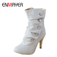 ENMAYER Women Shoes On Sale Winther Boots New Sexy Style High Heel PU Mid Calf Ladies Lovely Fashion Snow 3 Colors