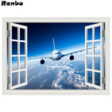 Persegi Lukisan Berlian Bulat Window View Blue Sky Mosaik Cross-Stitch Rhinestone Bordir Wallpaper Pesawat(China)