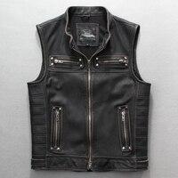Men's rivet motorcycle vest genuine leather black jacket with sleeveless designer vintage pocket biker coat for male large size