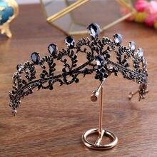 Diadema de tiara de boda con corona negra, diamantes de imitación, accesorios para el cabello para novia, diademas vintage, joyería para el cabello